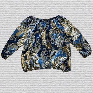 ASHLEY STEWART Blue Paisley Top Size 14